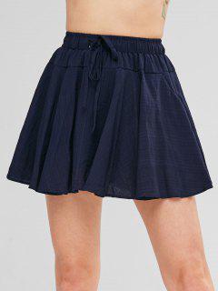 Drawstring Skater Skirt - Deep Blue
