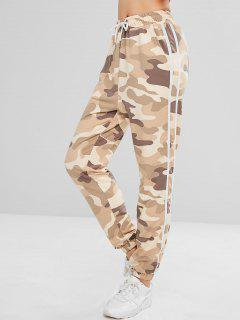 ZAFUL Striped Patched Camouflage Jogger Pants - Acu Camouflage L