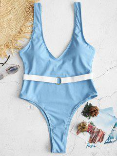 ZAFUL Belted Plunging High Leg Swimsuit - Light Sky Blue L