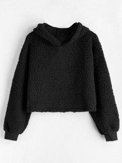 Drop Shoulder Fluffy Boxy Hoodie - Black L