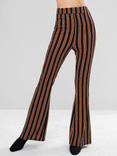 Striped Flare Bottom Pants - Multi L