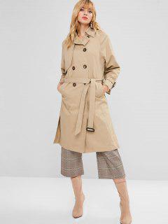 Raglan Sleeve Slit Belted Trench Coat - Tan L