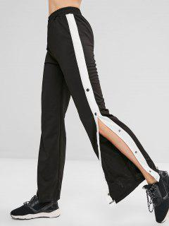 Buttoned Split Stripe Side Wide Leg Pants - Black L