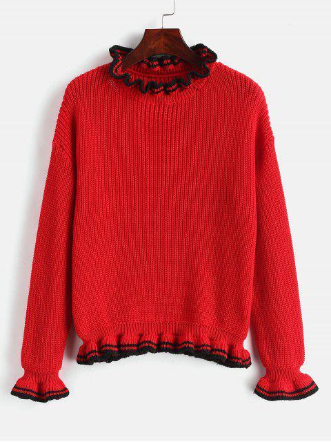 Stripes Panel Ruffles Sweater - Rojo Lava Única Talla Mobile