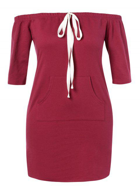 outfits ZAFUL Plus Size Off Shoulder Pocket Dress - RED WINE 1X Mobile