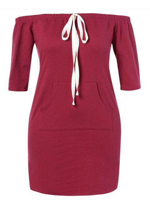ladies ZAFUL Plus Size Off Shoulder Pocket Dress - RED WINE 3X Mobile