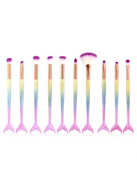 Ensemble de Brosse de Maquillage Pour Yeux et Ombre à Paupière avec Manche en Forme de Sirène 10 Pièces - Multi-A  Mobile