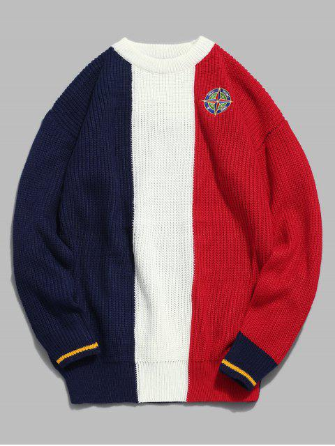 sale Badge Pattern Color Block Pullover Sweater - RED L Mobile