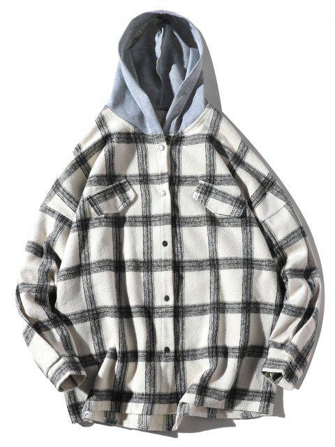 Loose Karo-Muster Faux Pocket Kapuzen-Shirt - Weiß 3XL Mobile