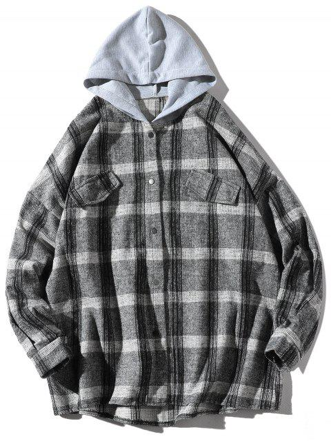 Chemise à Capuche Lâche Motif à Carreaux avec Fausse Poche - Gris Foncé S Mobile