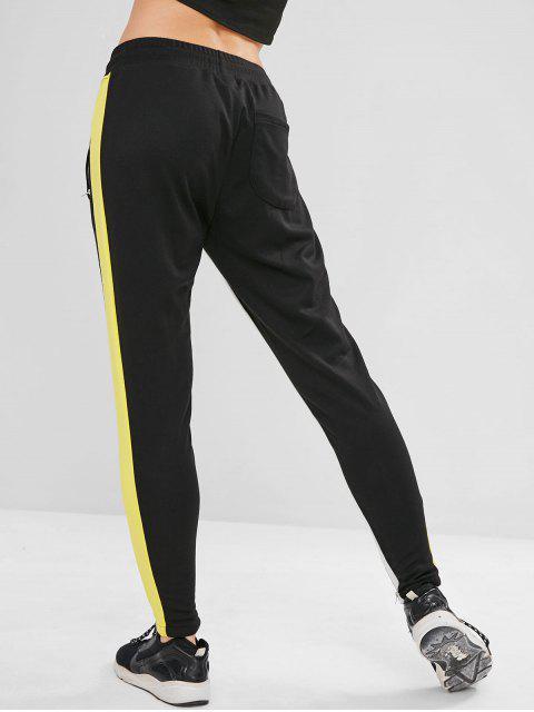 ZAFUL Color Block Contraste Pantalones deportivos - Negro L Mobile