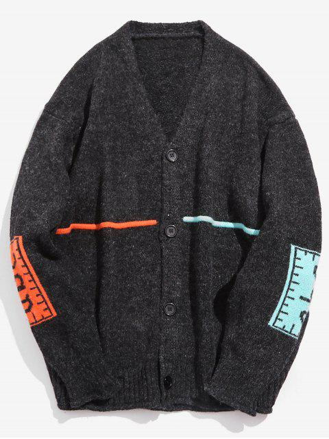 buy Contrast Elbow Patch Knitted Cardigan - BLACK XL Mobile