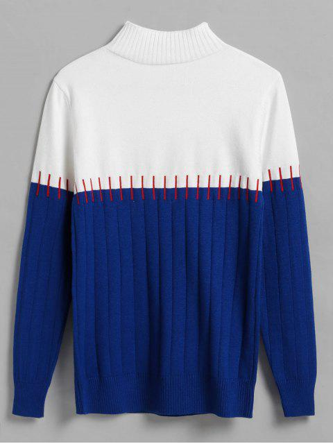 outfits Color Block Stitch Effect Wide Ribbed Sweater - BLUE ONE SIZE Mobile