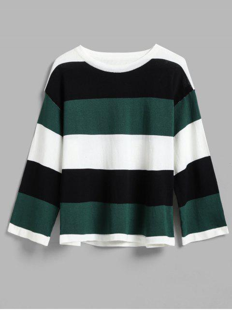 shops Wide Stripe Tricolor Light Sweater - GREEN ONE SIZE Mobile