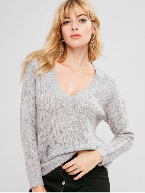 shops V Neck Loose Plain Sweater - GRAY CLOUD ONE SIZE Mobile