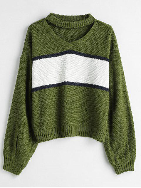 unique Patchwork Choker Sweater - FERN GREEN ONE SIZE Mobile