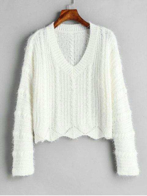 affordable Cozy Fluff Yarn Cable Knit Sweater - WHITE ONE SIZE Mobile