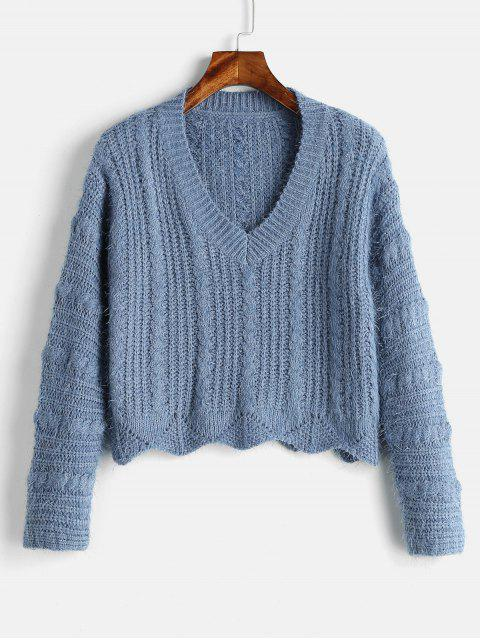 outfit Cozy Fluff Yarn Cable Knit Sweater - BLUE KOI ONE SIZE Mobile