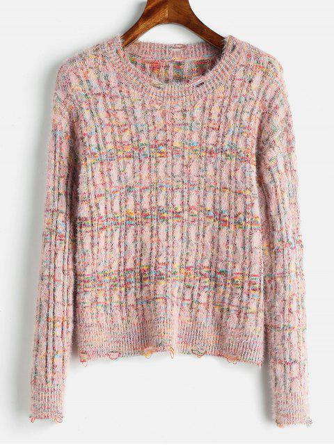 fashion Cable Knit Mixed Yarn Fluffy Sweater - MULTI ONE SIZE Mobile