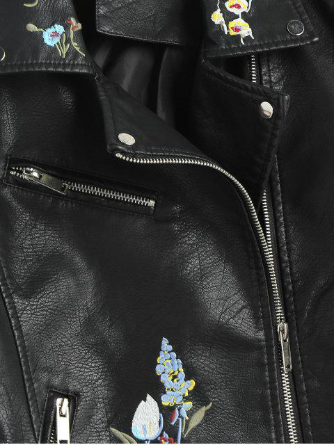 outfits Floral Embroidered Faux Leather Biker Jacket - BLACK XL Mobile