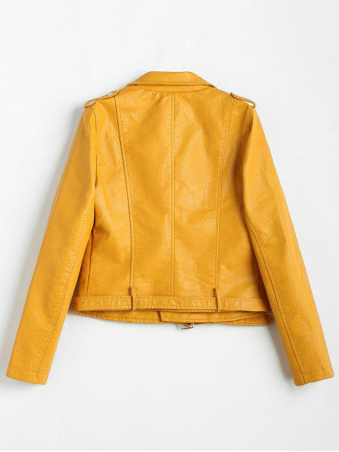 chic Zip Up Pockets Belted Faux Leather Jacket - YELLOW XL Mobile