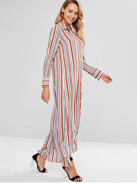 women Striped Floral Maxi Shirt Dress - MULTI M Mobile