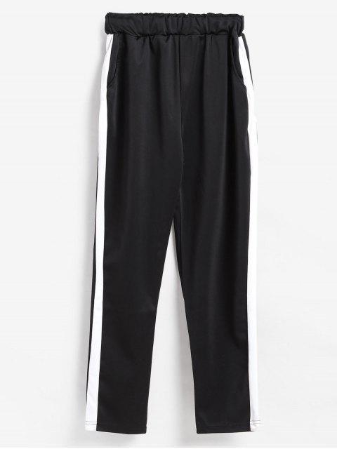 outfit Pull On Side Stripe Jogging Pants - BLACK L Mobile