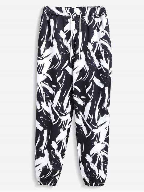 fashion Printed Joggers Pants - BLACK ONE SIZE Mobile