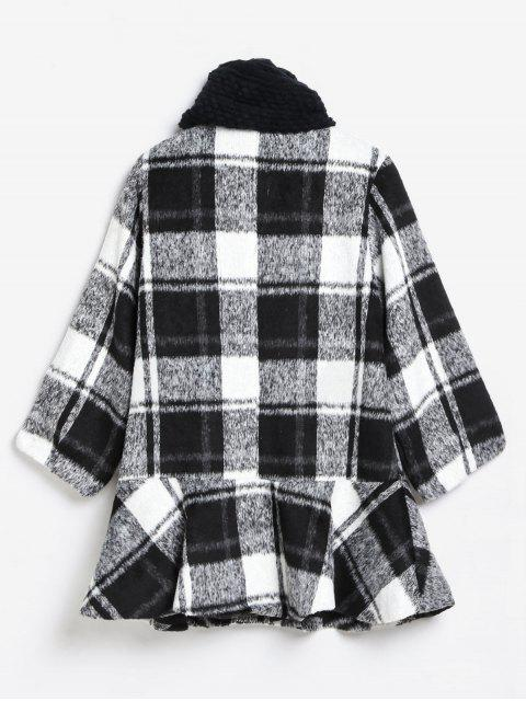 unique Checked Ruffle Hem Faux Wool Coat and Scarf - MULTI M Mobile