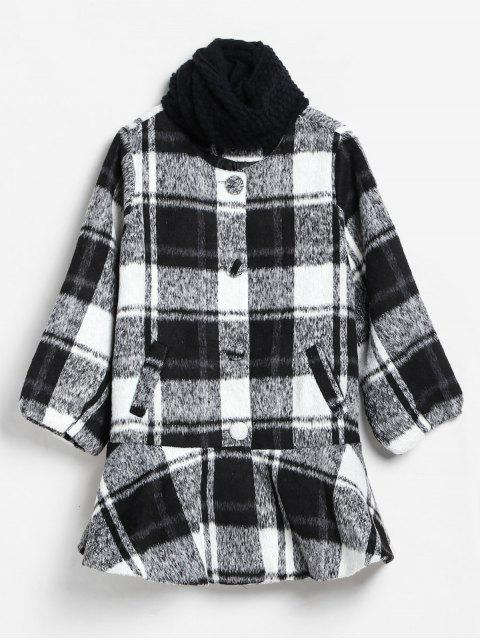 women Checked Ruffle Hem Faux Wool Coat and Scarf - MULTI S Mobile