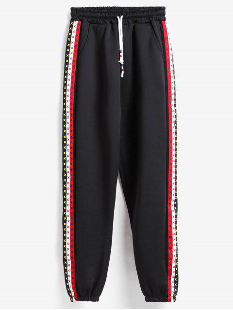online Side Stripe Tracksuit Bottoms Joggers Pants - BLACK XL Mobile