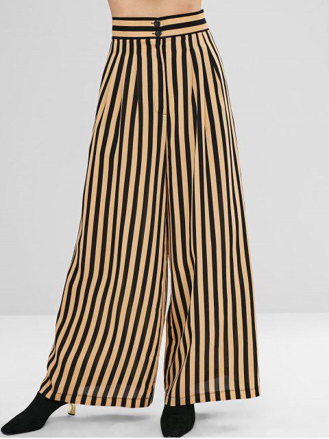 Pantalones anchos a rayas con detalle de pliegues - Vainilla M Mobile