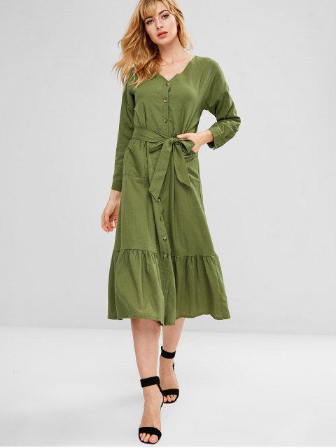 women's Belted Patch Pocket Button Through Midi Dress - ARMY GREEN S Mobile