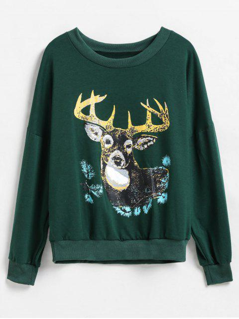 buy Deer Graphic Front Drop Shoulder Christmas Sweatshirt - DEEP GREEN L Mobile