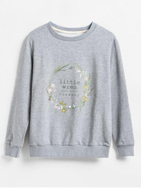 online Floral Garland Print Pullover Sweatshirt - GRAY S Mobile