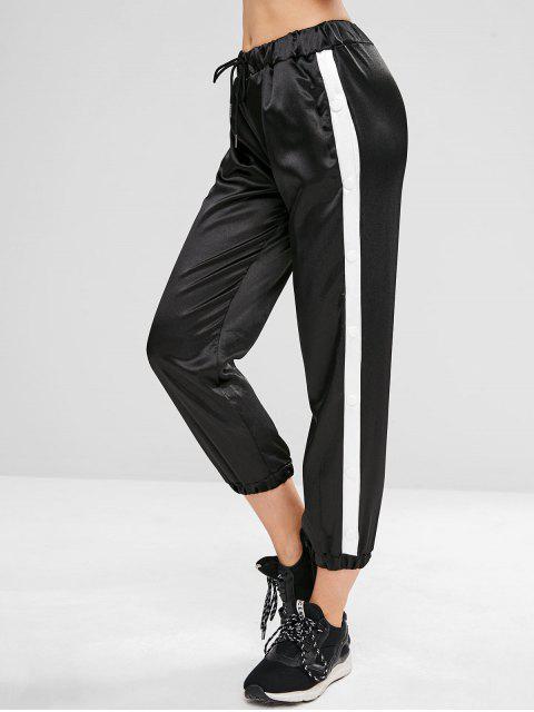 chic Drawstring Snap Button Jogger Pants - BLACK L Mobile