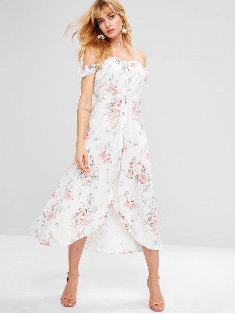unique Drawstring Floral Button Up Flowy Dress - WHITE S Mobile