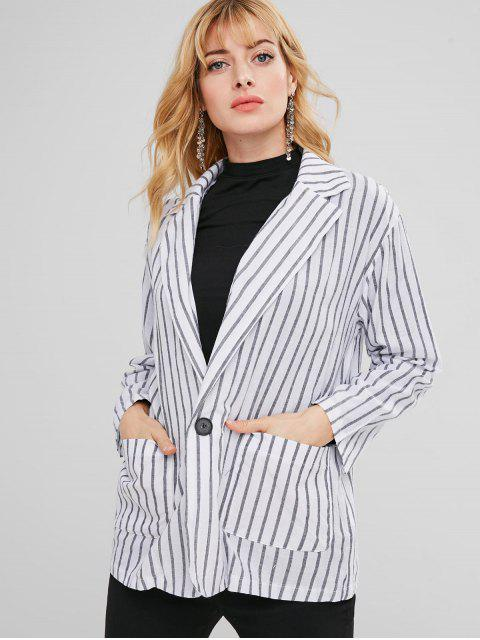 sale Pockets Stripes Blazer - WHITE M Mobile