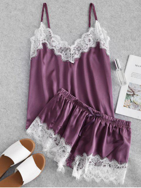best Contrast Lace Satin Cami Pajama Set - DARK ORCHID L Mobile