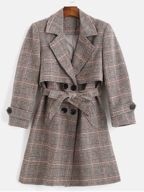 new Belted Plaid Lapel Coat - MULTI S Mobile