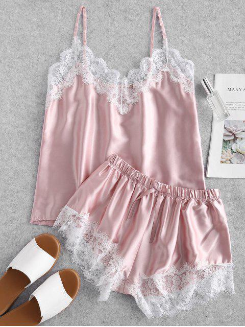 fancy Contrast Lace Satin Cami Pajama Set - PINK L Mobile