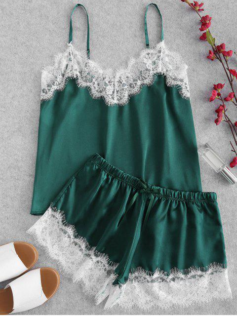 sale Eyelash Lace Lustrous Satin Cami Pajama Set - DEEP GREEN XL Mobile