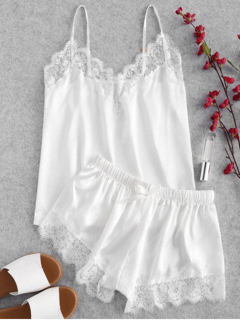 lady Eyelash Lace Lustrous Satin Cami Pajama Set - WHITE 2XL Mobile