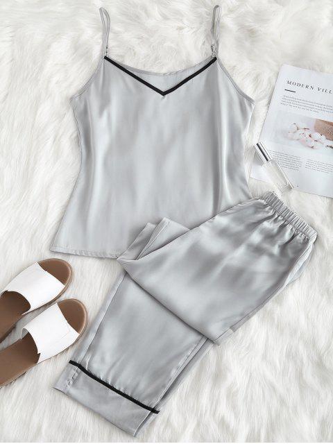 latest Satin Cami Top and Pants Pajama Set - PLATINUM XL Mobile