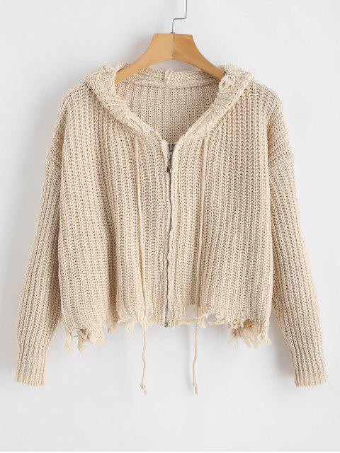 fancy Frayed Distressed Zip Up Cardigan - CHAMPAGNE ONE SIZE Mobile