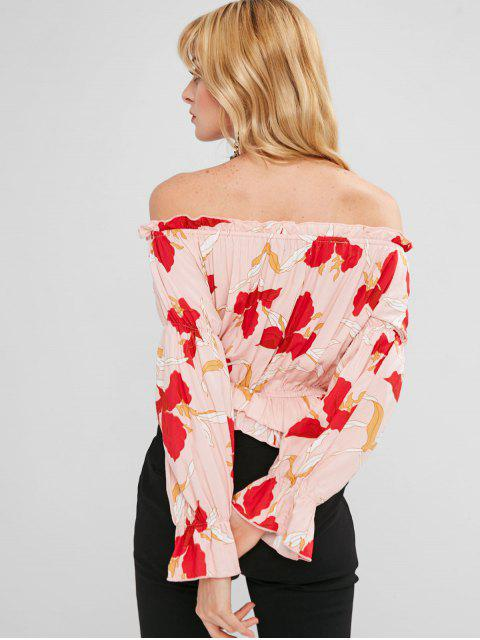trendy ZAFUL Off Shoulder Ruffled Print Blouse - MULTI M Mobile