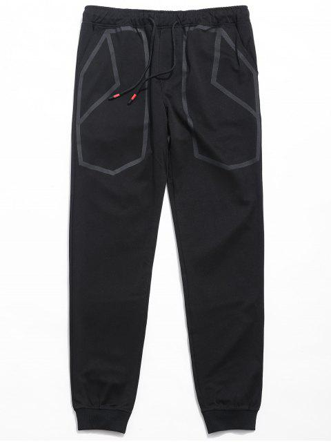fancy Drawstring Waist Printed Jogger Pants - BLACK XL Mobile