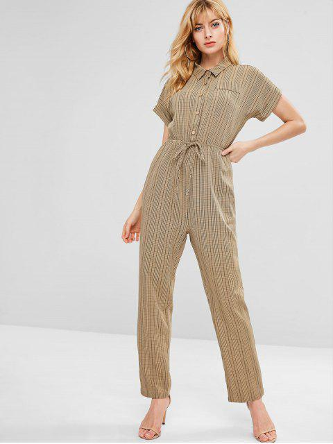affordable ZAFUL Cuffed Sleeves Plaid Shirt Jumpsuit - MULTI M Mobile
