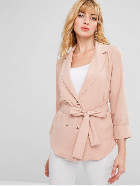 ladies ZAFUL Belted Single Breasted Blazer - ORANGE PINK XL Mobile