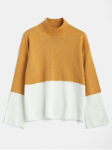 lady Mock Neck Two Tone Knit Sweater - ORANGE GOLD S Mobile